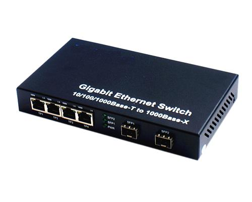 120906. 2 SFP Slot/LC connect + 4 RJ45 fiber Switch