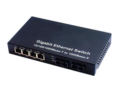 120908. 2 Fiber + 4 RJ45 Gigabit Ethernet Switch